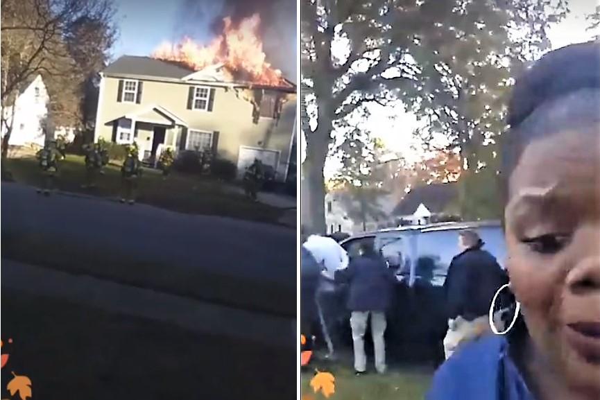mulher faz reportagem em directo de incêndio... e descobre o culpado - VA Norfolk house fire Rhoda Young combine - Mulher faz reportagem em directo de incêndio… e descobre o culpado
