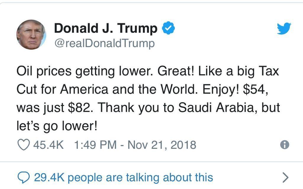 - WhatsApp Image 2018 11 21 at 16 - Trump agradece à Arábia Saudita a descida do petróleo. Mas diz que vai descer mais