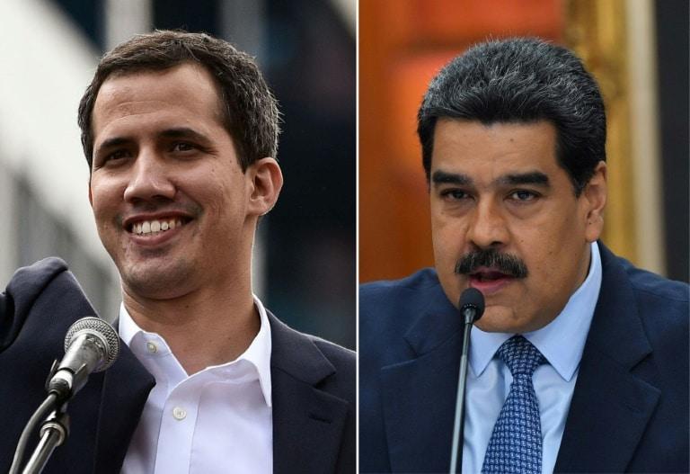 maduro e guaidó intensificam a disputa pelo poder na venezuela - O l  der opositor Juan Guaid   E e o presidente venezuelano Nicol  s Maduro - Maduro e Guaidó intensificam a disputa pelo poder na Venezuela