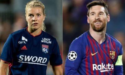 jogadora mais bem paga do futebol feminino ganha 325 vezes menos que messi - Ada Hegerberg do Lyon e Lionel Messi do Barcelona 400x240 - Jogadora mais bem paga do futebol feminino ganha 325 vezes menos que Messi