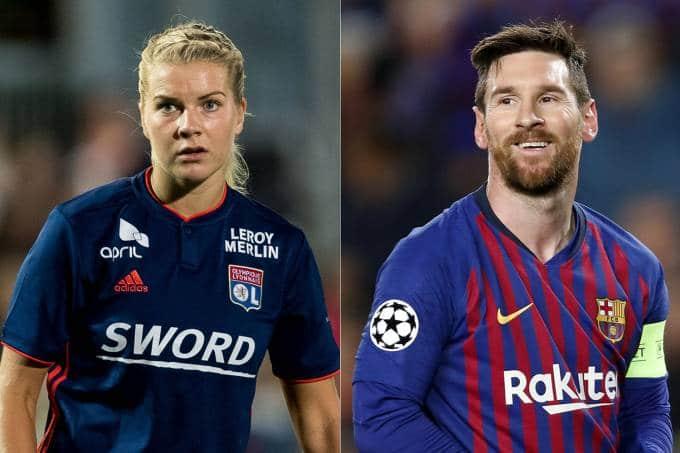 jogadora mais bem paga do futebol feminino ganha 325 vezes menos que messi - Ada Hegerberg do Lyon e Lionel Messi do Barcelona - Jogadora mais bem paga do futebol feminino ganha 325 vezes menos que Messi